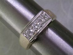 1.00 carat total weight MENS 3-STONE DIAMOND RING Heavy & Nice - $2295
