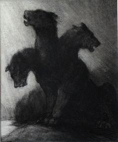 Cerberus, guards the gates of the Underworld in Greek mythology.