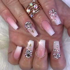Nail Design Glitter, Nail Design Spring, Nails Design With Rhinestones, Ongles Bling Bling, Bling Nails, Swarovski Nails, Rhinestone Nails, Fabulous Nails, Gorgeous Nails