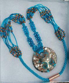 B4B Turquoise Dichrotic Focal Silver & Bronze Swirls Satin