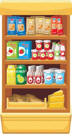 Supermarket. Products  #GraphicRiver         Vector illustration. It is created in the CorelDraw program. It is edited in the Adobe Illustrator program. It is kept in illustrator eps version 8. The file can be edited in any program of vector graphics. The size of the file can be increased till any size without quality loss. In this file there are no gradiyentny fillings and mesh. File full-color. The illustration can be used both entirely, and in parts.     Created: 22October13…