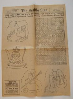 RARE 1930's Vintage Mother Goose Nursery Rhyme Embroidery Quilt Pattern From ...  etsy.com: