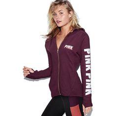 PINK High/Low Full-Zip Hoodie ($60) ❤ liked on Polyvore featuring tops, hoodies, white, pink zip hoodie, graphic hoodies, pink hoodies, pink hooded sweatshirt and full zip hoodie
