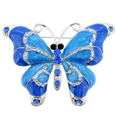 Blue Enamel Butterfly Pin Brooch Fantasyard. $10.99. Exquisitely detailed designer style. Gift box available for an additional fee. Please check out through gift-wrap option. Other color available. Save 39%!