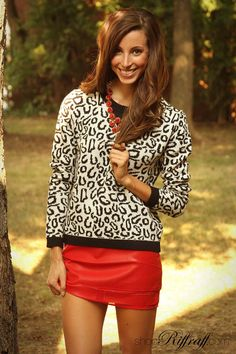 Leopard Sweater + Red Leather = yes, yes, yes! shopriffraff.com