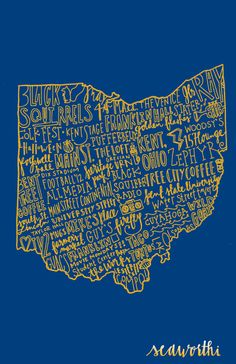 Kent State, a college town. $15.00, via Etsy.