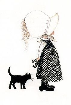 Black cat and Holly Hobbie! Holly Hobbie, Sara Kay, Hobbies For Women, Sunbonnet Sue, Hobby Room, Hobby Lobby, Hobby Horse, Illustrations, Cute Illustration