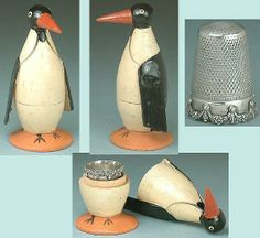 Penguin Antique Thimble Holder (Vintage Circa 1910 Wooden Figural Carving Holder with Sterling Silver Thimble)