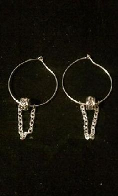 UNIQUELY DESIGNED SILVER WIRE HOOPS w/SPACER & DANGLING CHAIN - FREE SHIPPING