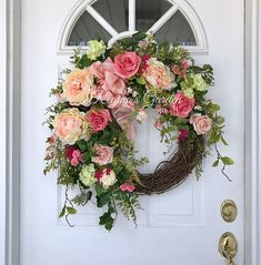 Spring Wreath-Summer Wreath-Hydrangea Wreath-Mothers Day Wreath Summer Wreath for Door-French Country Wreath-Wedding Wreath-Farmhouse Decor A lush gathering of beautiful garden blooms beckons the longer days of spring and summer and bids farewell to the cold and dark of winter. A mix