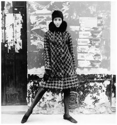 Model in large houndstooth coat with fox collar by Pierre Cardin, photo by Willy Maywald, Paris 1965