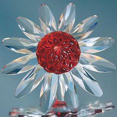 Swarovski Red Marguerite Crystal Daisy Flower Cake Topper #8848 Limited
