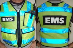 ANSI II High Vis Radio Vest     This Vest is available with WHITE Reflective Tape as well This ANSI II Compliant Vest EXCEEDS the Requirement of Reflective Tape and Florescent Material This Vest is Available in MESH or SOLID Material the Only two colors that Meet ANSI II Certifications are Florescent Green and Florescent Orange Mesh or Material, we do offer this vest in Many other Colors This EMS Vest INCLUDES your Choice of Name tags. Visit TheVestGuy.com for more info