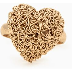 Tangled Wire Heart Ring (6.99 AUD) ❤ liked on Polyvore featuring jewelry, rings, accessories, gold, adjustable rings, wire heart ring, heart shaped rings, heart shaped jewelry and heart jewellery