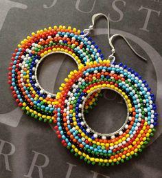 Beadwork Hoop Earrings Tribal Inspired Big Bold Colorful Hoops