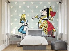 Ohpopsi Alice in Wonderland Queen of Hearts Wallpaper Wall Mural for sale online Alice And Wonderland Tattoos, Alice In Wonderland Characters, Alice In Wonderland Tea Party, Bedroom Wallpaper Murals, Wall Wallpaper, Wall Murals, Heart Wall Decor, Heart Wallpaper, Queen Of Hearts