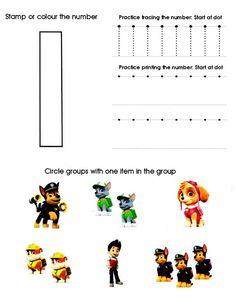 Paw Patrol Worksheet Number 1 Teaching Numbers, Numbers Preschool, Preschool Activities, Preschool Alphabet, Kindergarten Math Worksheets, In Kindergarten, Toddler Learning, Teaching Kids, Paw Patrol