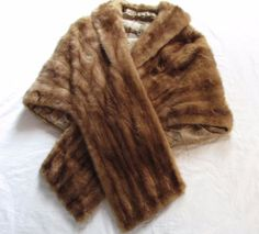 Vintage MINK Fur Stole Wrap Cape Capelet  Brown Silk Lined #Stole