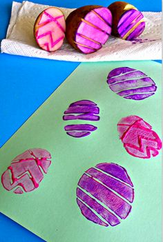 Homemade Easter Cards by Potato Stamping! Fun for you and your kids!