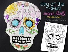 Printable Day of the Dead Sugar Skull coloring sheet (Dia de los Muertos craft). Write Spanish vocab on the back Fall Halloween, Halloween Crafts, Mexican Halloween, Mexican Holiday, Coloring Sheets, Coloring Pages, Day Of The Dead Skull, World Crafts, Printable Crafts