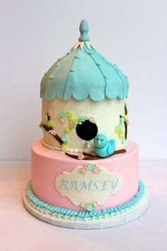 Cute Bird House cake by Cakes by Kerrin