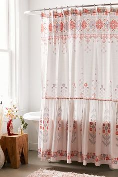 Shop Aneta Folk Floral Ruffle Shower Curtain at Urban Outfitters today. We carry all the latest styles, colors and brands for you to choose from right here. Ruffle Shower Curtains, Beaded Curtains, Shower Curtain Hooks, Urban Outfitters Home, Bohemian Bathroom, Apartment Essentials, Shower Accessories, Vintage Cross Stitches, Modern Fabric