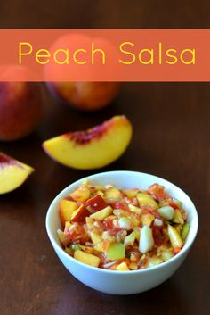 This peach salsa is a delicious, healthy recipe that gives great flavor to fish, chicken, or a bowl of tortilla chips. Great to have on hand in the fridge! Mexican Food Recipes, Real Food Recipes, Cooking Recipes, Fruit Recipes, Summer Recipes, Recipies, Healthy Snacks, Healthy Eating, Healthy Recipes