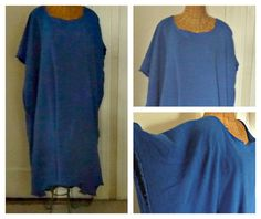 b520fae5b76 Items similar to Royal Blue Caftan Cotton Classic House Dress With Sleeves  Beach Gauze Cover Up One Size Plus Womens on Etsy