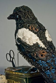 I could use all those Victorian beads from Momo Donya Coward Magpie Anthropologie Antique Victorian Beading Mourning Sculpture Textile, Soft Sculpture, Textile Art, Bird Sculpture, Animal Sculptures, Fabric Birds, Fabric Art, Textiles, Art Perle