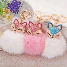 CHUBBY TEDDY HEART Keyring Handbag Charm Diamante Rhinestone Key-Ring CLEAR NEW