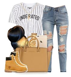I want them dead presidents by trillest-princess101 on Polyvore featuring polyvore fashion style Timberland MICHAEL Michael Kors Versace Sterling Essentials Underated Identity women's clothing women's fashion women female woman misses juniors
