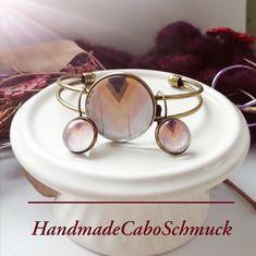 Cabochon Schmuckset Armreif/Armband 25mm und Ohrhänger 12mm Bronze Pastelltöne Geometrisch Holzoptik