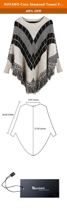 """NOVAWO Cute Diamond Tassel Poncho Cape Shawls Batwing Sweater Cloak with Sleeves (Gray XL). size for your reference: Length: approximately 28.7"""" (including the tassel) Sleeve: approximately 24.8"""" (including the shoulder) Tassel: approximately 3.9"""" Ponchos are the hottest trend out in the fashion world. With the cold seasons coming up, be prepared with this adorable stylish poncho sweater. Unlike a regular poncho that can still be cold, this is actually a sweater with arms that will keep…"""