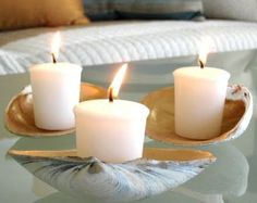 coastal style candle holders | ... inside of large shells gold (or silver?) and use as candle holder