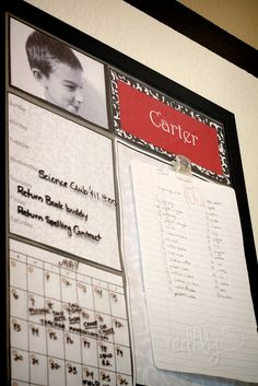 :: Dry erase calendar with simple glass frame :: Kid's Homework Station - Free Printables