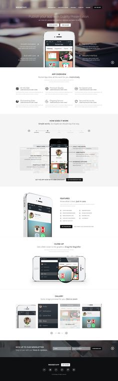 PSD Template RocketApp Responsive App Landing Page by Nuwan haha via Behance - Product Landing Page - Increase your product conversion rate by using product landing page. - PSD Template RocketApp Responsive App Landing Page by Nuwan haha via Behance Design Sites, Graphisches Design, Layout Design, Flat Design, Graphic Design, Webdesign Portfolio, Webdesign Layouts, Site Inspiration, Landing Page Inspiration