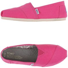 Toms Sneakers ($85) ❤ liked on Polyvore featuring shoes, sneakers, fuchsia, rubber sole shoes, flat sneakers, fuschia shoes, fuschia flat shoes and toms footwear