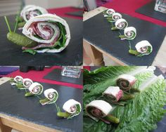 A fantastically fun way to get kids to eat their sandwiches. Ingredients (makes about 28 snail sandwiches): 4 medium sized tortilla wraps 28 Small gherkins Chives Salami (or another c… Garden Birthday, Fairy Birthday, Party Garden, Birthday Ideas, Bug Food, Bug Party Food, Party Snacks, Reptile Party, Fairy Tea Parties