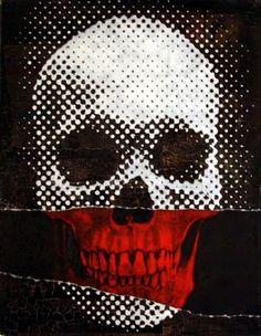 Black, white  red Pixel Skull, pop art, illustration.