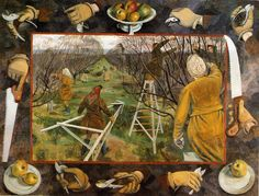 A 1944 Pastoral: Land Girls Pruning at East Malling. Evelyn Mary Dunbar was a British artist, notable for recording women's contributions to World War II on the United Kingdom home front, particularly the work of the Women's Land Army. Manchester City Art Gallery, Manchester Art, Women's Land Army, Medieval Books, Land Girls, Art Uk, Fruit Trees, Your Paintings, Female Art