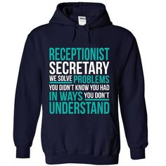 RECEPTIONIST-SECRETARY - Solve problem - #gift ideas #gift for kids. MORE INFO => https://www.sunfrog.com/No-Category/RECEPTIONIST-SECRETARY--Solve-problem-4964-NavyBlue-Hoodie.html?68278