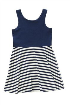 Navy/White Stripe Skater Dress (3-16yrs)