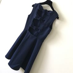"Zara dark navy dress Gorgeous dress. Worn only once in great condition. Shoulder to hem is 34"". No trade Zara Dresses Midi"