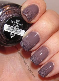 Lavender nails with purple and grey glitter.