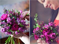 purple bouquet assembly: 3 Peonies, 10 Stems of Magenta Freesia, 8 Stems of Magenta Heather, 5 Mini Succulents, 10 stems of Mini Coin, Stems of Purple Spray Roses