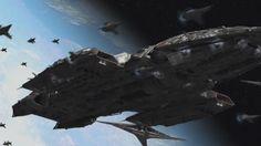 Battlestar Valkyrie engages the Cylon fleet.