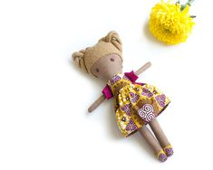 Mixed Race Rag Doll with blonde hairdo, Bi-Racial Ragdoll, Brown handmade doll African Babies, African Dolls, Unique Gifts For Kids, Unique Baby Shower Gifts, Baby Toys, Kids Toys, Little Ones, Little Girls, Mixed Race