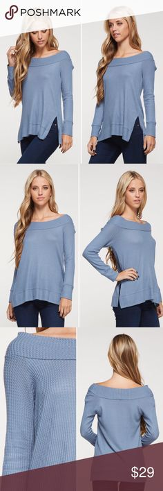Coming soon ✌🏼️ Wide neck, slightly off the shoulder thermal. Relaxed fit with side slits!   Model is wearing small  Fabric: 96% Rayon 4% Spandex  ❌Trades ✅ Price Firm ✴️ Bundles Save 20% 💟 Also available in White Tops