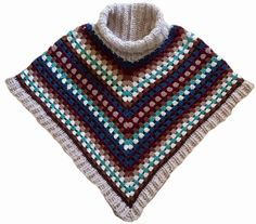 Handwerkjuffie: Patroon PONCHO MET KOL - free crochet pattern in Dutch with photos showing how the granny stitch is worked onto the neck. Crochet Shawls And Wraps, Crochet Scarves, Crochet Clothes, Crochet 101, Crochet Stitches, Crochet Patterns, Free Crochet, Crochet Capas, Crochet Fashion