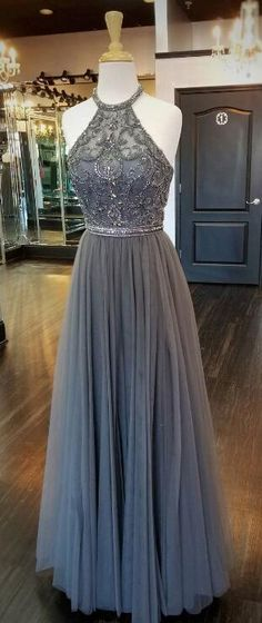 gorgeous beaded grey long prom dress, 2018 prom dress, party dress, formal evening dress